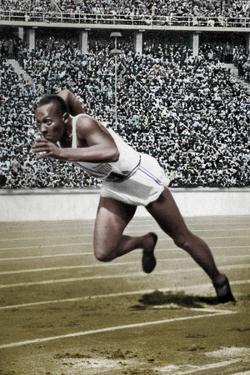 Jesse Owens at the start of the 200 metres at the Berlin Olympic Games, 1936 by Unknown