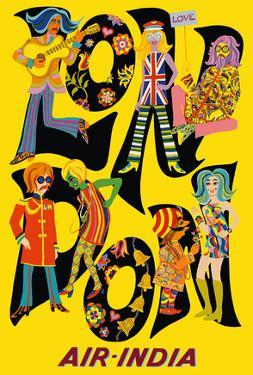 London England - Air India - The Beatles with Maharaja by Unknown