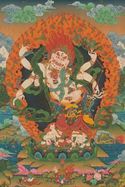 Mahakala Shadbhuja Sita (White Lord with Six Hands) - Tantric Wealth Deity by Unknown
