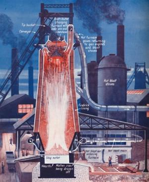 'Making Iron in a Modern Blast Furnace', 1935 by Unknown