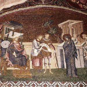 Mary and Joseph before Cyrenius, Byzantine Mosaic, Chora Church, Istanbul, c1310-1320 by Unknown
