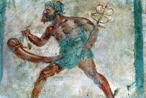 Mural of Mercury, Pompeii, Italy. Artist: Unknown by Unknown
