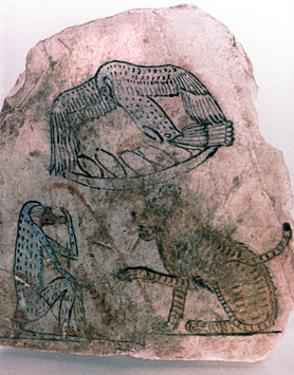 Ostracon Fragment, Cheetah, Bird and Monkey, Egypt Artist: Unknown by Unknown