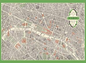 Paris, France - Aerial View of The City Center MAP by Unknown