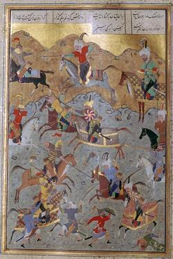 Persian miniature of battle between Alexander the Great and Darius, 16th century. Artist: Unknown by Unknown
