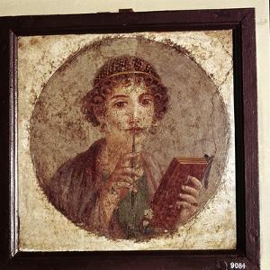 Portrait painting of Sappho, Pompeii, Italy. Artist: Unknown by Unknown