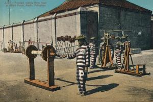 'Prisoners making Hemp Rope at Billbid Prison, Manila, Philippines', c1900 by Unknown