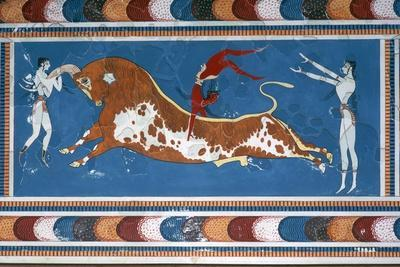 Reconstruction of the 'Bull-leaping' fresco from the Minoan Royal palace at Knossos