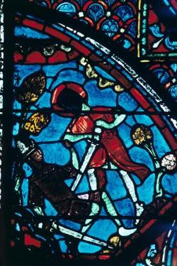 Roland pierces the giant Ferragut in the navel, stained glass, Chartres Cathedral, 1194-1260 by Unknown