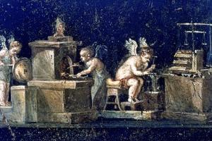 Roman mural, House of the Vettii Pompeii, Italy. Artist: Unknown by Unknown