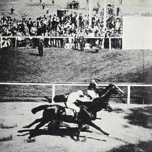 Salvator beats Tenny by a 'throat latch', Sheepshead Bay Race Track, New York, USA, 1890 by Unknown