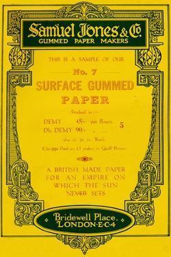 'Samuel Jones & Company Gummed Paper Makers advert, 1919 by Unknown