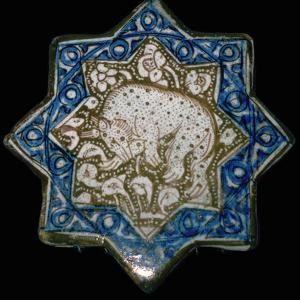 Small tile with a spotted hyena or bear, 13th century. Artist: Unknown by Unknown