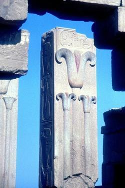 Stylised lotus plants on a column, Temple of Amun, Karnak, Egypt. Artist: Unknown by Unknown