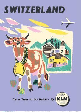 Switzerland - Allmogekor, Swiss Cow - KLM Royal Dutch Airlines by Unknown