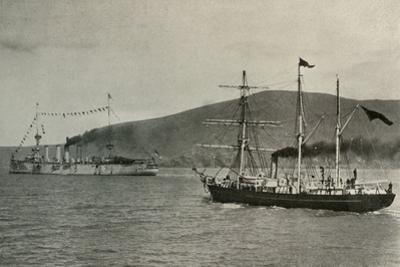 'The Nimrod Passing H.M.S. Powerful,...in Lyttelton Harbour', 1 January 1908, (1909) by Unknown