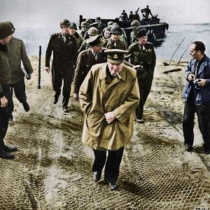 'Winston Churchill across the Rhine. Outwards into Germany! Onwards to Victory!', 1945 by Unknown