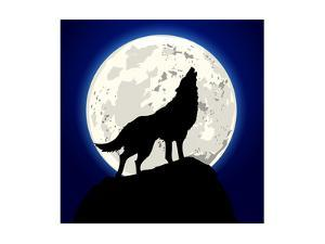 Detailed Illustration of a Howling Wolf in Front of the Moon, Eps 10 Vector by unkreatives