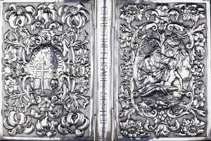 Upper and Lower Book Cover with Foliage and an Image of the Good Samaritan, 1740