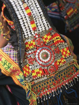 Close-up of a Woman's Headdress, Kalash Ku'Pa, Joshi (Spring Festival), Bumburet Valley, Pakistan