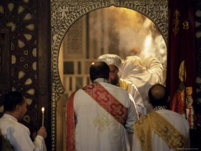 Coptic Christian Christmas Service, Church of St. Barbara, Old Cairo, Egypt, North Africa, Africa by Upperhall Ltd