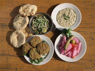 Plates of Traditional Food, Falafel, Babaghanoush and Shawarma, Egypt, North Africa by Upperhall Ltd