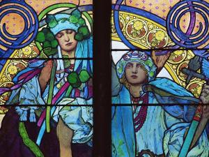 Stained Glass by Mucha, St. Vitus Cathedral, Prague, Czech Republic by Upperhall