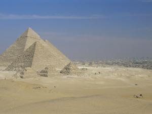 The Pyramids, Giza, Unesco World Heritage Site, with Cairo Beyond, Egypt, North Africa, Africa by Upperhall