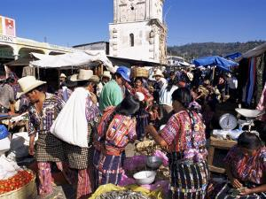 Women in Traditional Dress in Busy Tuesday Market, Solola, Guatemala, Central America by Upperhall