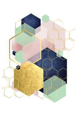 Gold Blush Navy Mint Hexagonal by Urban Epiphany