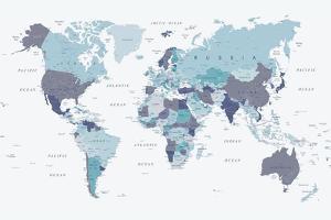 World Map Blue 1 by Urban Epiphany