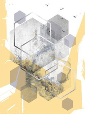 Yellow Grey Abstract Hexagons 1 by Urban Epiphany