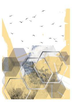 Yellow Grey Abstract Hexagons 2 by Urban Epiphany