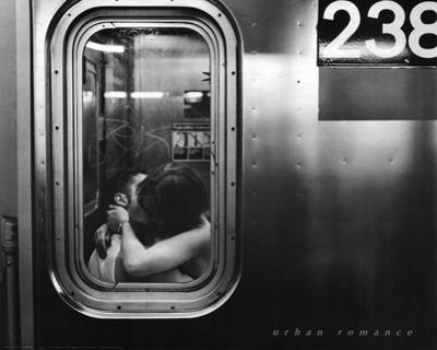 Urban Romance Kissing in Subway Window