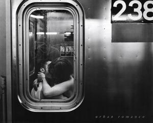 Urban Romance Kissing in Subway Window