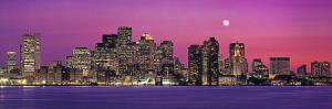 Urban Skyline by the Shore at Night, Boston, Massachusetts, USA
