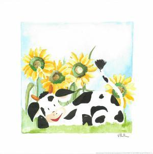 Little Cow And Sunflowers by Urpina