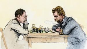 US Championship Chess Match Between Sam Lipschutz (Left) and Jackson Showalter, 1892