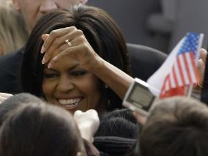 US First Lady Michelle Obama Greets the Crowd after Her Husband's Speech in Prague, Czech Republic