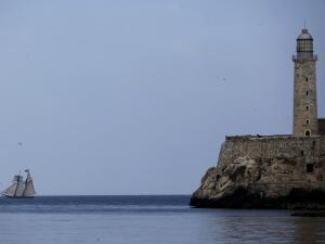 US-Flagged Vessel Amistad Nears the Port of Havana as it Passes the Morro Castle