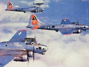 Us Flying Fortress B17 Bombers with Mustang Fighter Escort