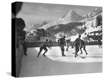 US Hockey Team Playing the Swiss at the Winter Olympics