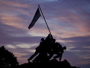 US Marine Corps Memorial is Silhouetted Against the Early Morning Sky in Arlington, Virginia