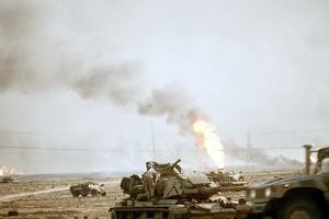 US Marine Following the Retreat of Iraqi Forces from Kuwait, Feb 27, 1991
