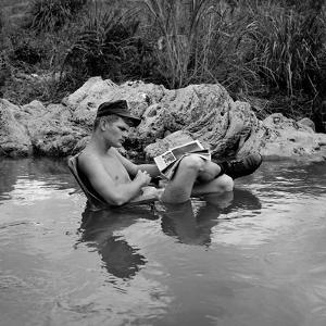 US Marine Rifleman Relaxes in a Cool Mountain Stream, Vietnam, 1968