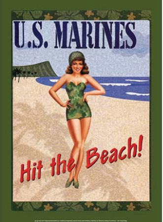 US Marines Hit the Beach Soldier Sexy Girl