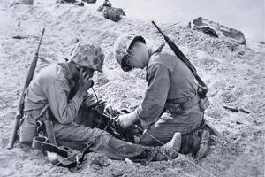US Marines Set-Up a Field Telephone at Roi-Namur, Marshall Islands, January 1944