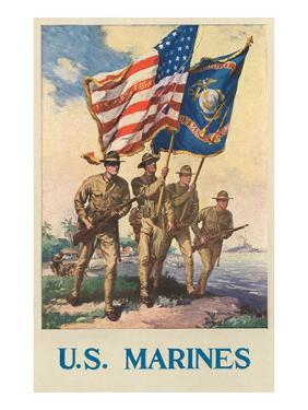 US Marines - Soldiers on Shore with US and Marine Flags