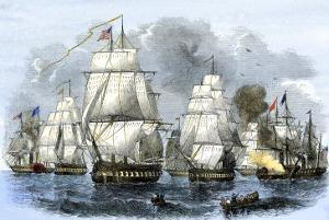US Navy Squadron Commanded by Matthew Perry Sailing for Japan, 1852, including USS Susquehannah