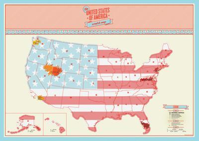 US Scratch Map Poster